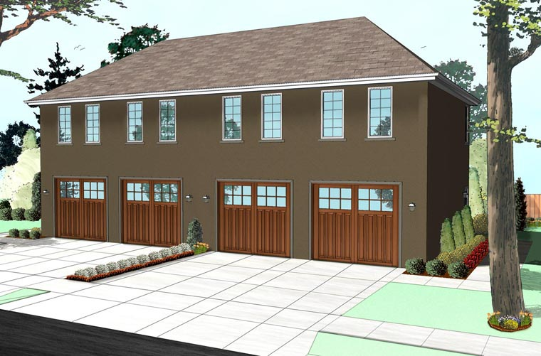 Colonial, Traditional 4 Car Garage Apartment Plan 41112 with 2 Beds, 2 Baths Elevation