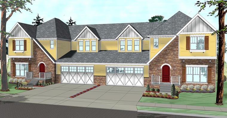 Tudor Multi-Family Plan 41118 Elevation