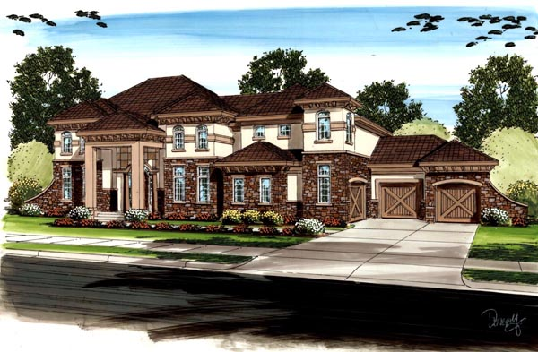 Country , Mediterranean , Traditional House Plan 41121 with 5 Beds, 5 Baths, 3 Car Garage Elevation