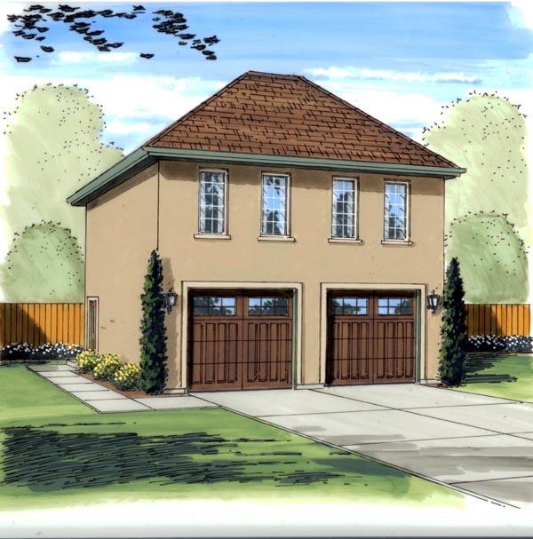 Traditional , Mediterranean 2 Car Garage Apartment Plan 41129 with 1 Beds, 1 Baths Elevation