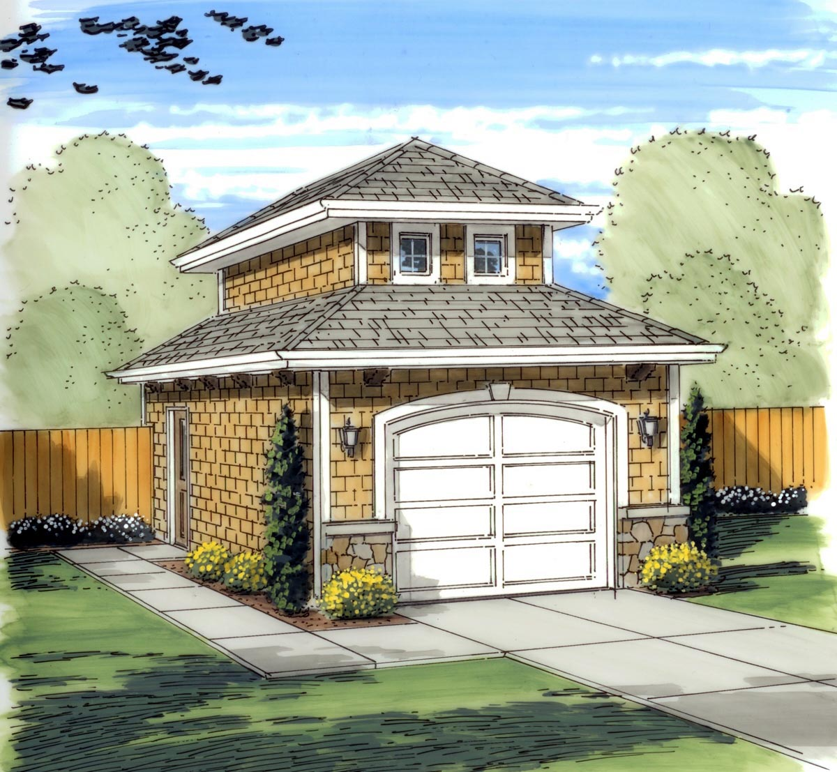 1 1 2 Story Two Car Garage With Apartment: Traditional Style Garage Plan 41134