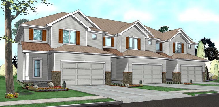 Traditional Multi-Family Plan 41141 Elevation