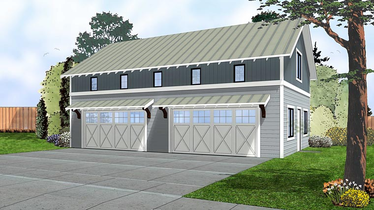 Craftsman 4 Car Garage Plan 41145 Elevation