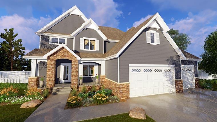Craftsman House Plan 41146 with 4 Beds, 4 Baths, 3 Car Garage Elevation