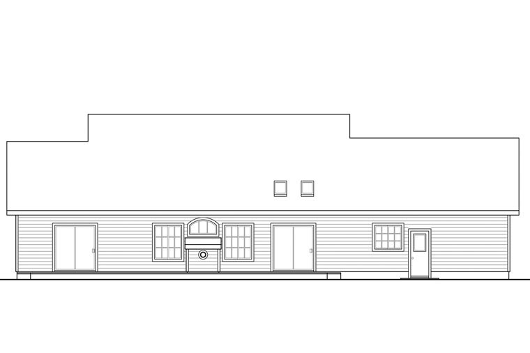 Country Ranch Traditional Rear Elevation of Plan 41148