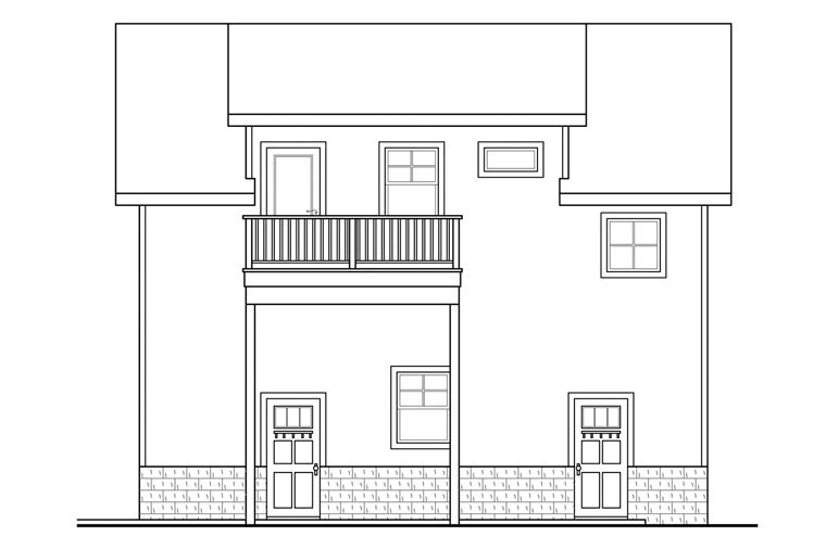 Traditional 2 Car Garage Apartment Plan 41149 with 1 Beds, 1 Baths Picture 2
