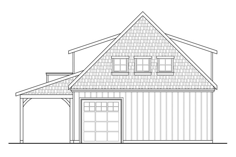 Craftsman 3 Car Garage Plan 41150 Rear Elevation