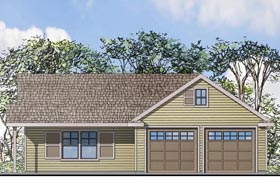 Garage Plan 41152 | Traditional Style Plan with 615 Sq Ft, 1 Bathrooms, 2 Car Garage Elevation