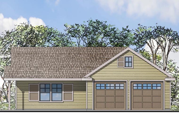 Traditional 2 Car Garage Apartment Plan 41152 Elevation