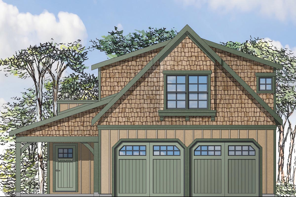 Craftsman Style 2 Car Garage Apartment Plan Number 41153 with 1 Bed, 1 Bath