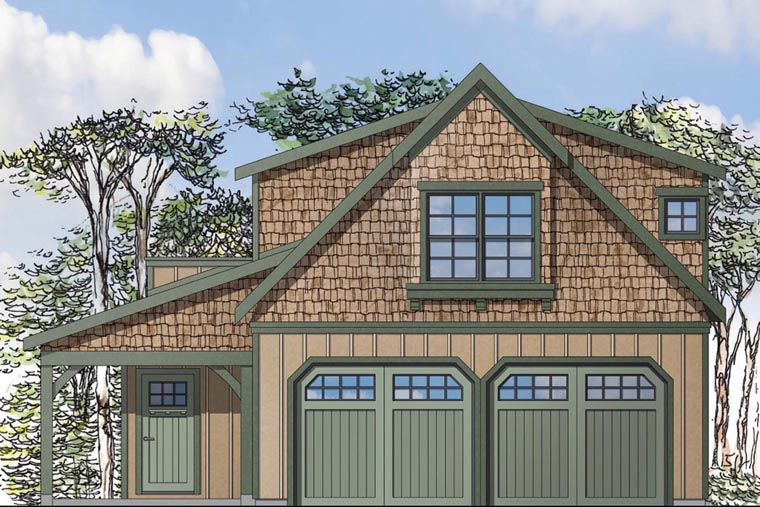 Craftsman, European 2 Car Garage Apartment Plan 41153 with 1 Beds, 1 Baths Elevation