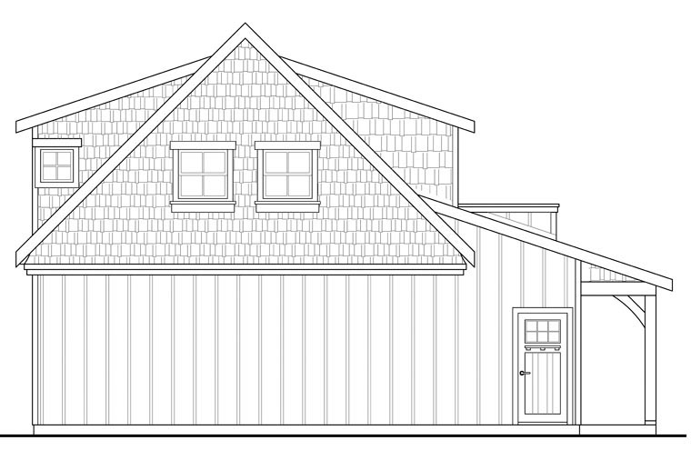 Craftsman 2 Car Garage Apartment Plan 41153 with 1 Beds, 1 Baths Rear Elevation