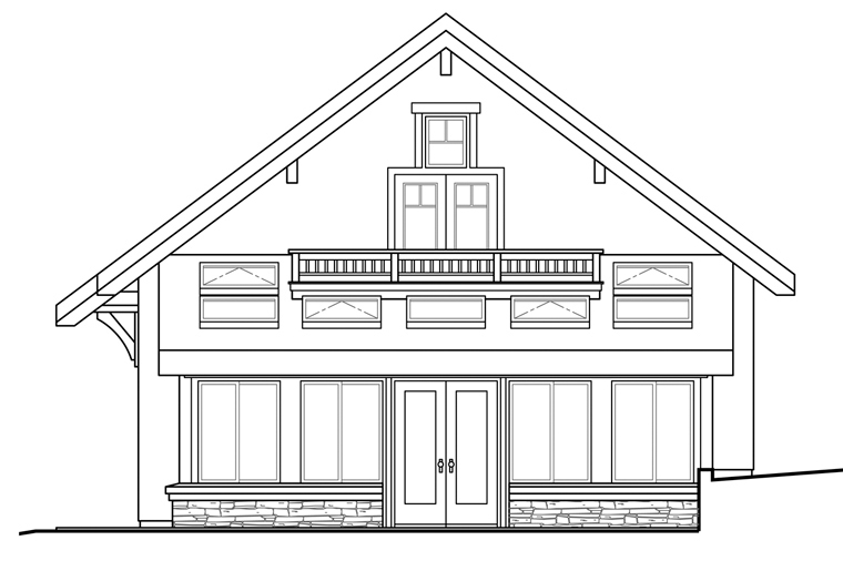 European Garage Plan 41158 Rear Elevation