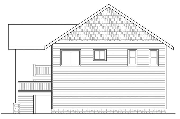 Craftsman Rear Elevation of Plan 41162