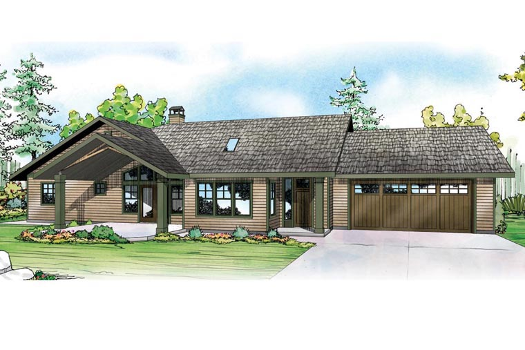 Contemporary Country Prairie Style Ranch Traditional House Plan 41164 Elevation