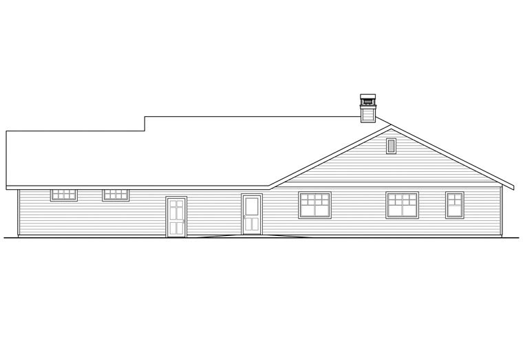 Contemporary Country Prairie Style Ranch Traditional House Plan 41164 Rear Elevation
