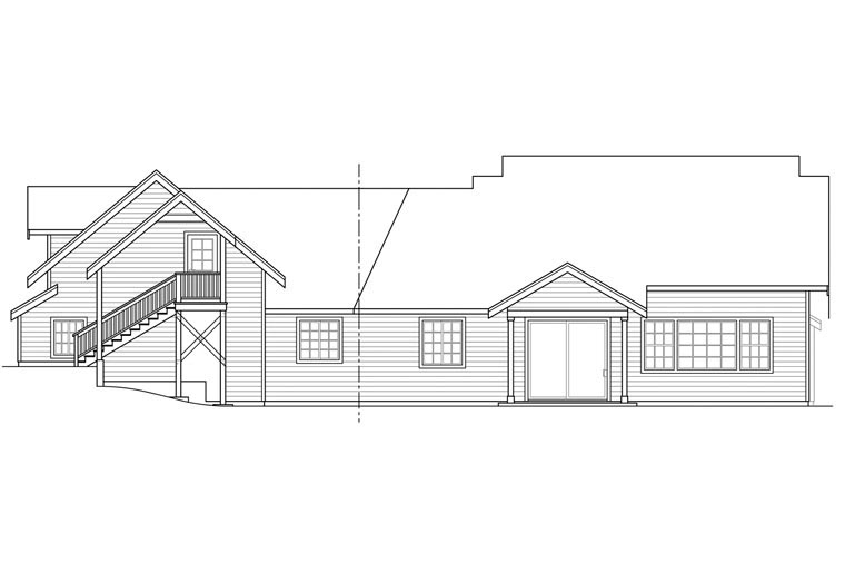 Bungalow Country Craftsman Traditional House Plan 41168 Rear Elevation