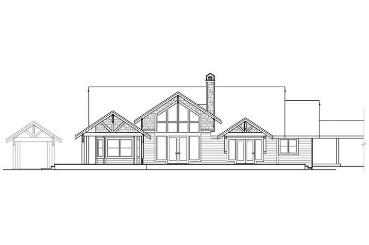 Craftsman Ranch Traditional House Plan 41169 Rear Elevation