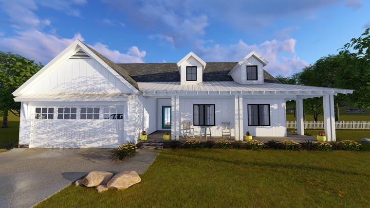 Country , Southern House Plan 41175 with 3 Beds, 2 Baths, 2 Car Garage Elevation