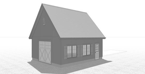 Country, Farmhouse 1 Car Garage Plan 41176 Rear Elevation