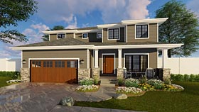 House Plan 41180 | Contemporary Craftsman Southwest Style Plan with 2554 Sq Ft, 4 Bedrooms, 4 Bathrooms, 2 Car Garage Elevation