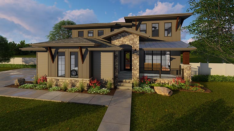 Contemporary Prairie Style Southwest Elevation of Plan 41183