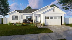 Traditional , Ranch House Plan 41184 with 3 Beds, 2 Baths, 2 Car Garage Elevation