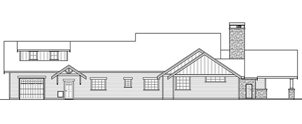 Bungalow Country Craftsman Ranch House Plan 41200 Rear Elevation