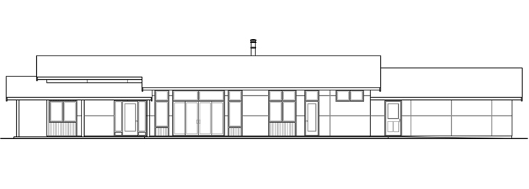 Contemporary Ranch House Plan 41203 Rear Elevation