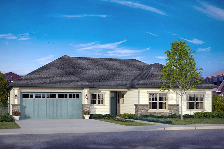 Country Prairie Style Ranch Traditional House Plan 41204 Elevation