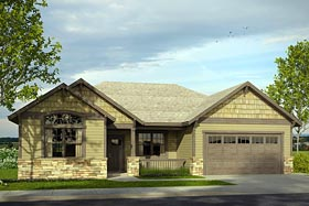 Cottage , Country , Craftsman , Traditional House Plan 41207 with 3 Beds, 2 Baths, 2 Car Garage Elevation