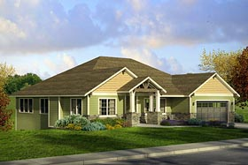 House Plan 41208 | Cottage Country Craftsman Traditional Style Plan with 2520 Sq Ft, 3 Bedrooms, 3 Bathrooms, 4 Car Garage Elevation