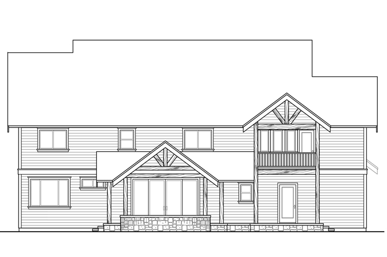 Country Craftsman Southern House Plan 41210 Rear Elevation