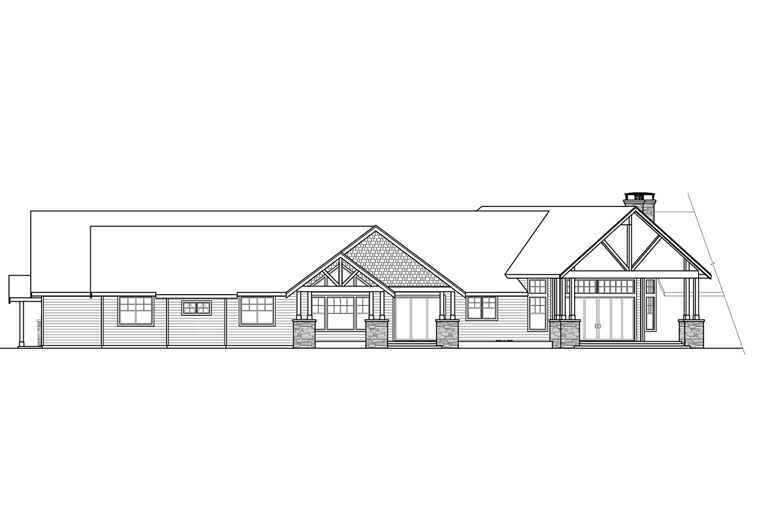 Country Craftsman Ranch House Plan 41211 Rear Elevation