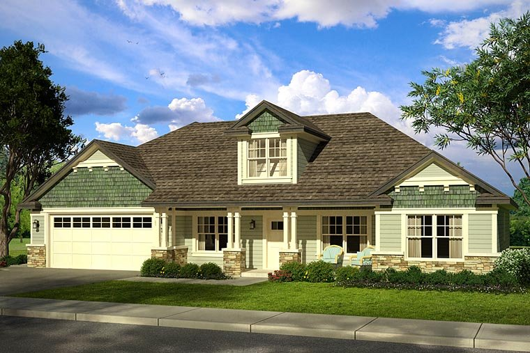 Cottage, Country, Craftsman, Ranch House Plan 41212 with 3 Beds, 3 Baths, 2 Car Garage Elevation