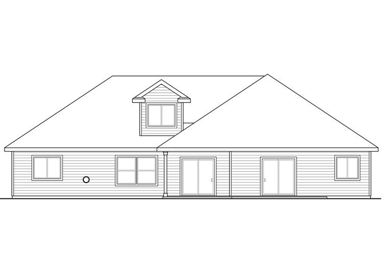 Cottage, Country, Craftsman, Ranch House Plan 41212 with 3 Beds, 3 Baths, 2 Car Garage Rear Elevation