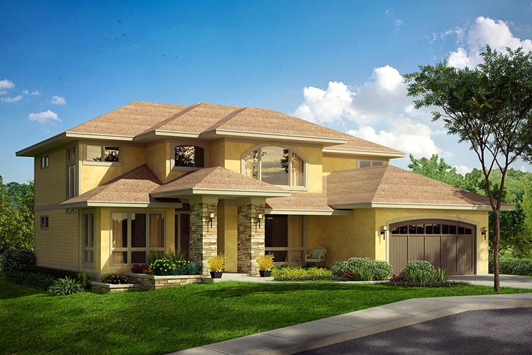 European, Mediterranean, Southwest House Plan 41213 with 4 Beds, 5 Baths, 2 Car Garage Elevation