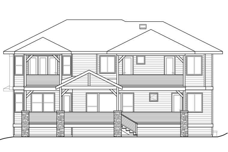 European , Mediterranean , Southwest , Rear Elevation of Plan 41213