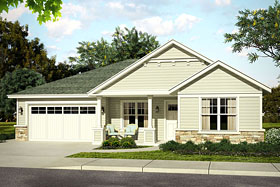 House Plan 41214 | Bungalow Cottage Country Ranch Traditional Style Plan with 2009 Sq Ft, 3 Bedrooms, 3 Bathrooms, 2 Car Garage Elevation
