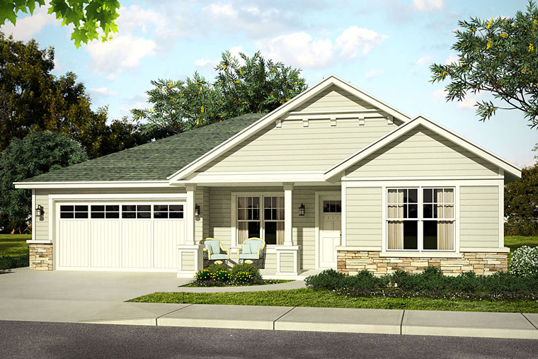 Bungalow, Cottage, Country, Ranch, Traditional House Plan 41214 with 3 Beds, 3 Baths, 2 Car Garage Elevation