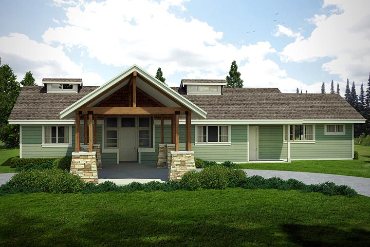 Cabin, Ranch, Traditional House Plan 41217 with 2 Beds, 3 Baths, 2 Car Garage Elevation