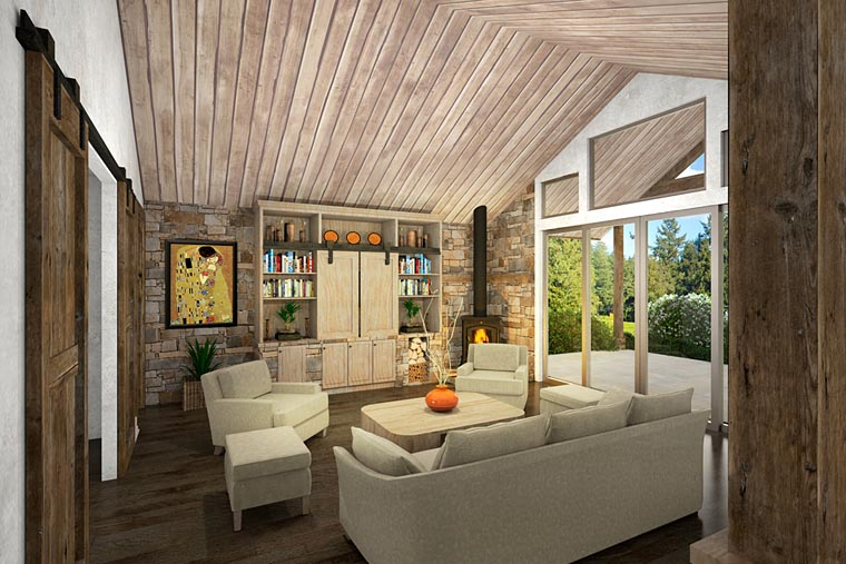 Cabin, Ranch, Traditional House Plan 41217 with 2 Beds, 3 Baths, 2 Car Garage Picture 1