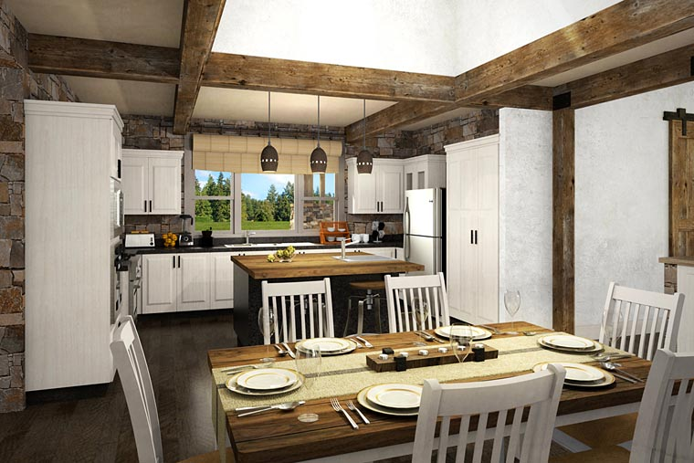 Cabin, Ranch, Traditional House Plan 41217 with 2 Beds, 3 Baths, 2 Car Garage Picture 2