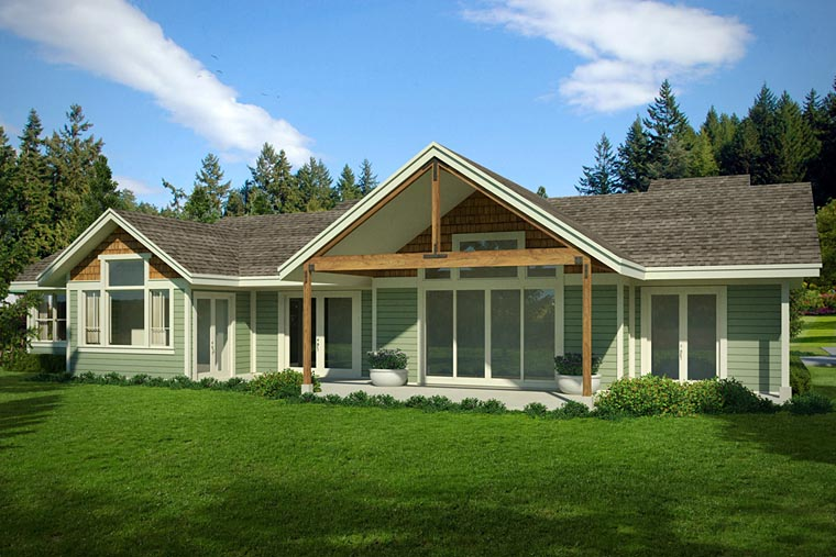 Cabin, Ranch, Traditional House Plan 41217 with 2 Beds, 3 Baths, 2 Car Garage Rear Elevation