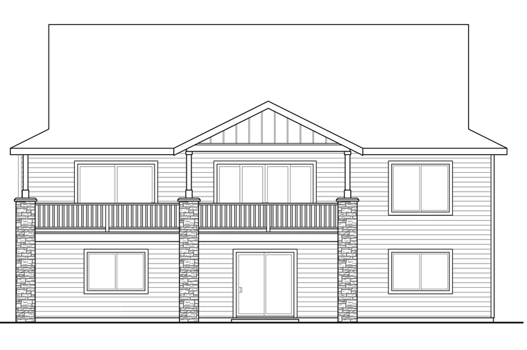 Bungalow Cottage Country Craftsman House Plan 41218 Rear Elevation