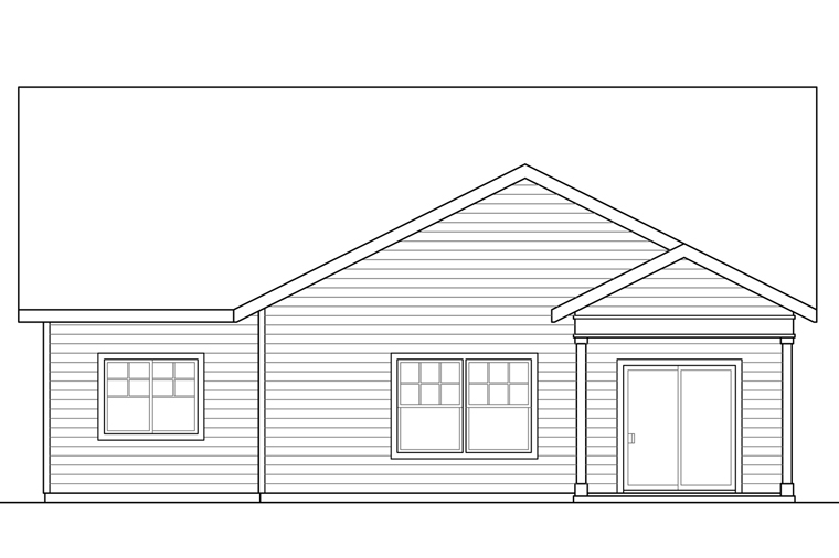 Bungalow Cottage Craftsman House Plan 41221 Rear Elevation