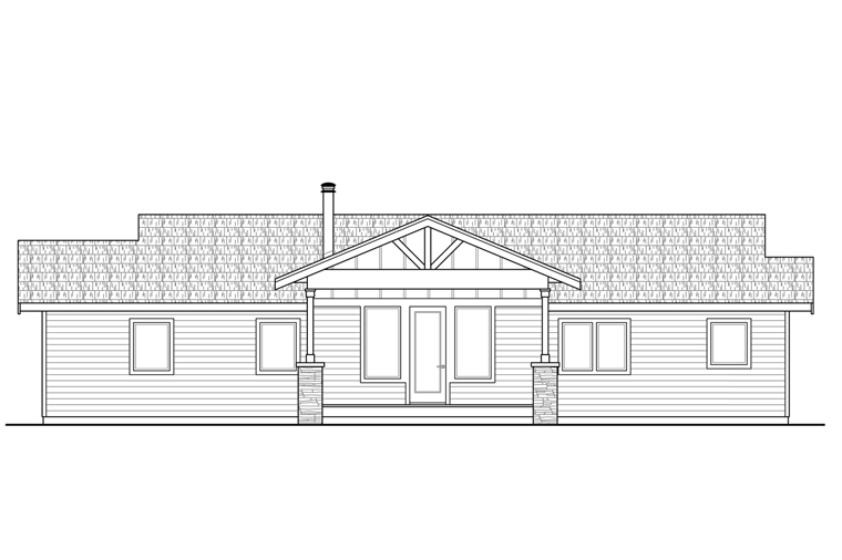 Country Craftsman Ranch House Plan 41226 Rear Elevation