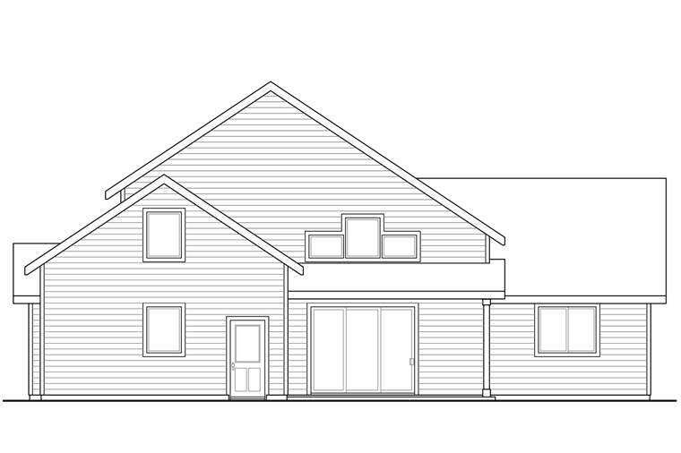 Bungalow Craftsman Traditional House Plan 41228 Rear Elevation