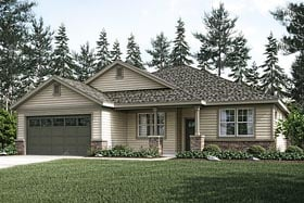 House Plan 41229 | Country Craftsman Ranch Style Plan with 2017 Sq Ft, 3 Bedrooms, 2 Bathrooms, 2 Car Garage Elevation