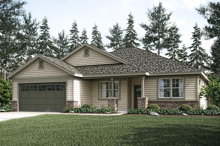 Country Craftsman Ranch House Plan 41229 Elevation